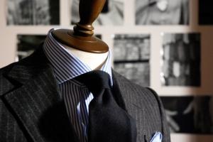 Flannel suit & Wool tie