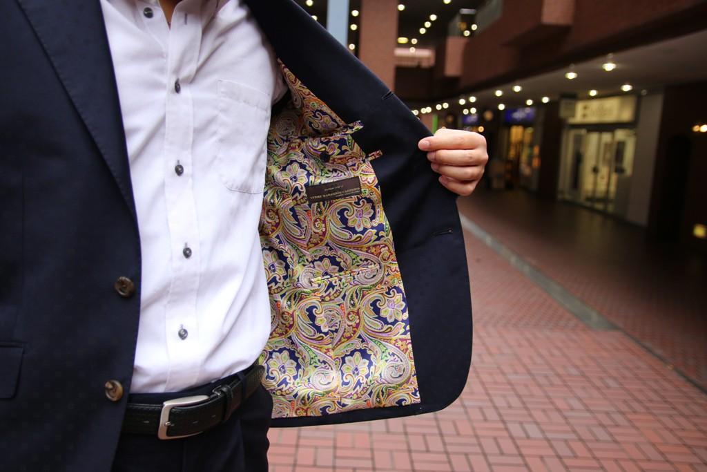 Canonico,カノニコ,ネイビースーツ,小紋柄,ZERBINO,Order Suit,オーダースーツ