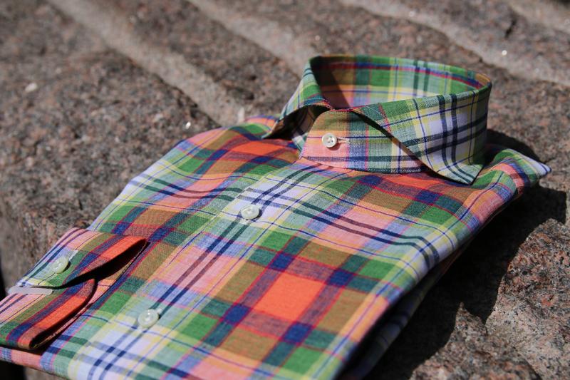 リネンシャツ ビッグチェック