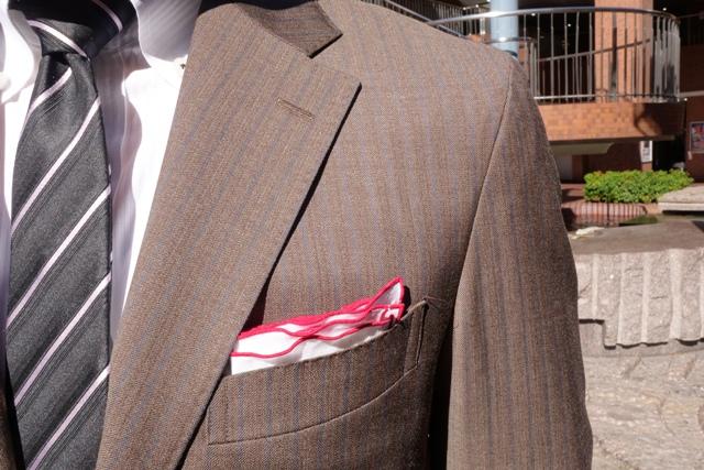 チェルッティ、ブラウンスーツ、カラーストライプ、イタリア生地、ZERBINO