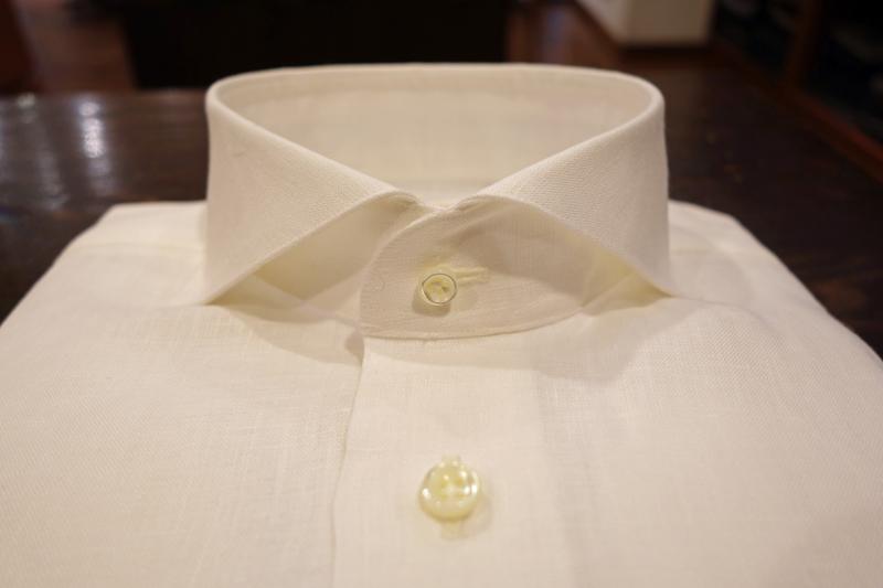 麻シャツ、リネン、白、夏、涼しい、カッタウェイ