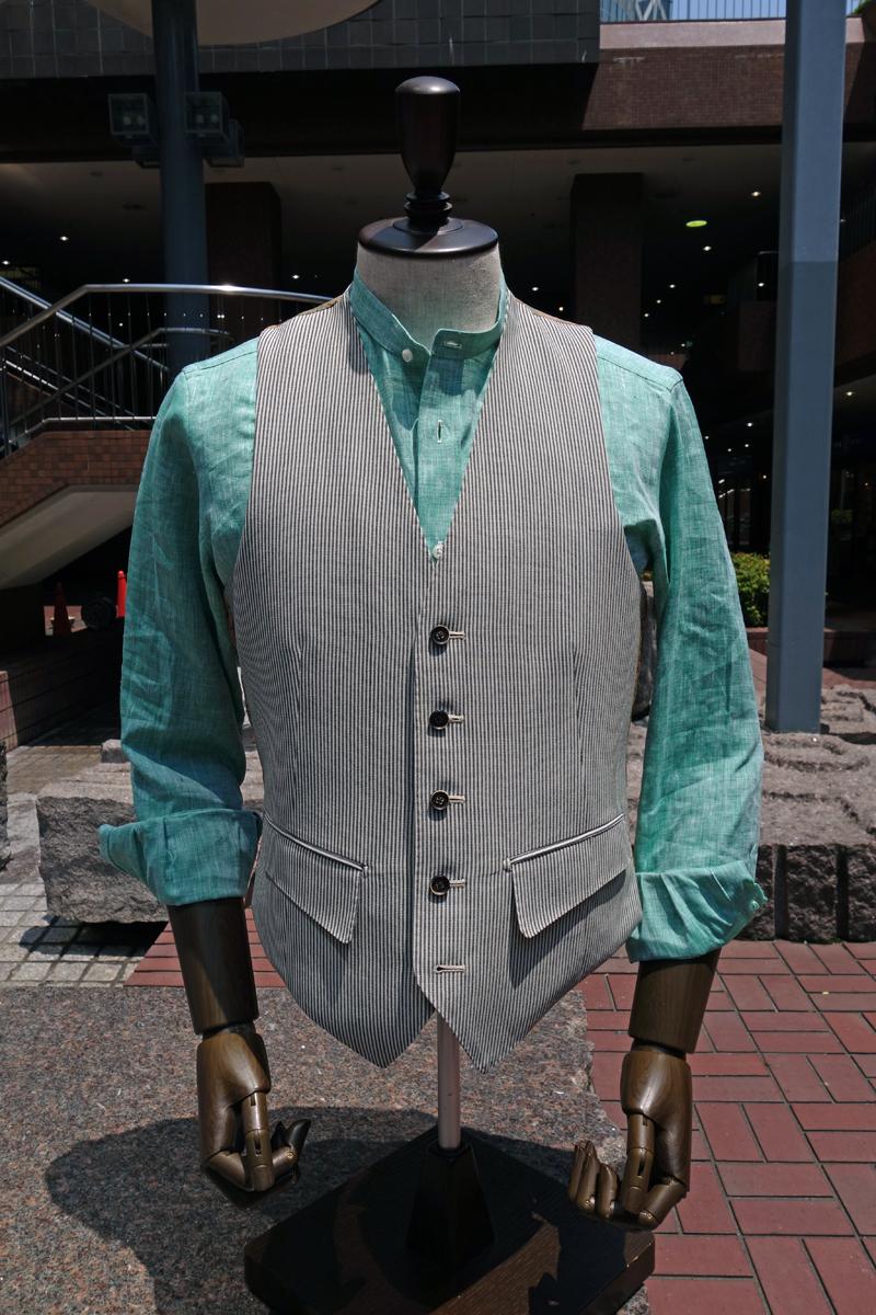 麻シャツ,バンドカラー,Linen,カジュアルシャツ