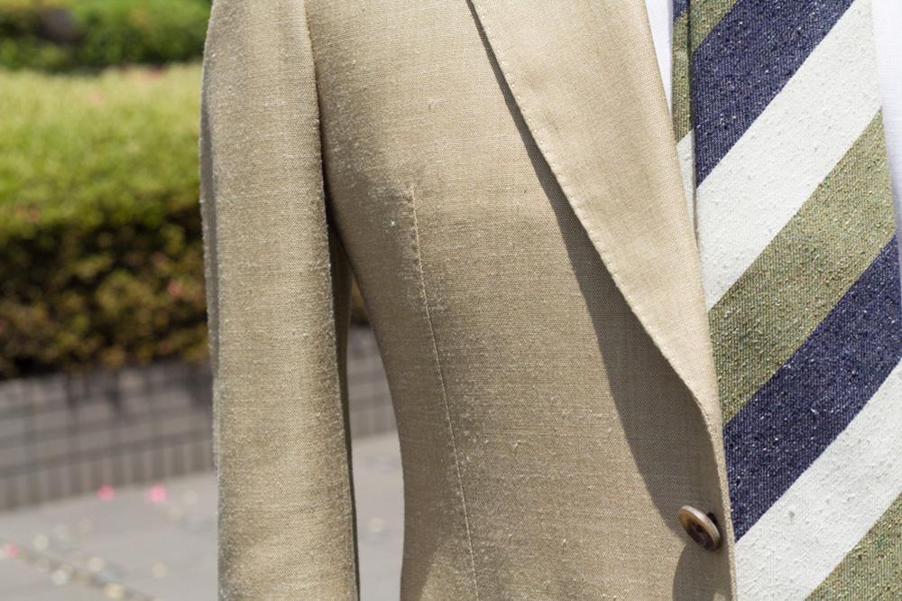 麻 スーツ 組み合せ コーデ コーディネイト 合わせ 素材感