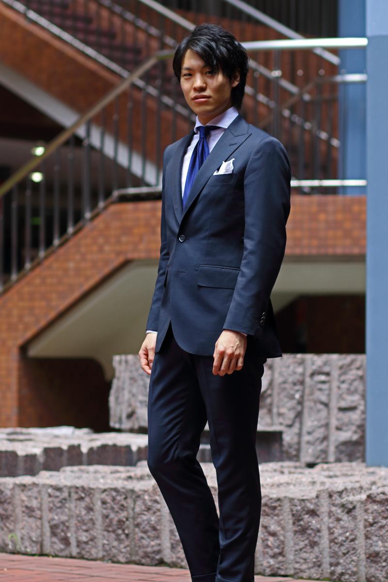 紺スーツ,ワンタック,オーダースーツ,プリーツパンツ,ネイビー