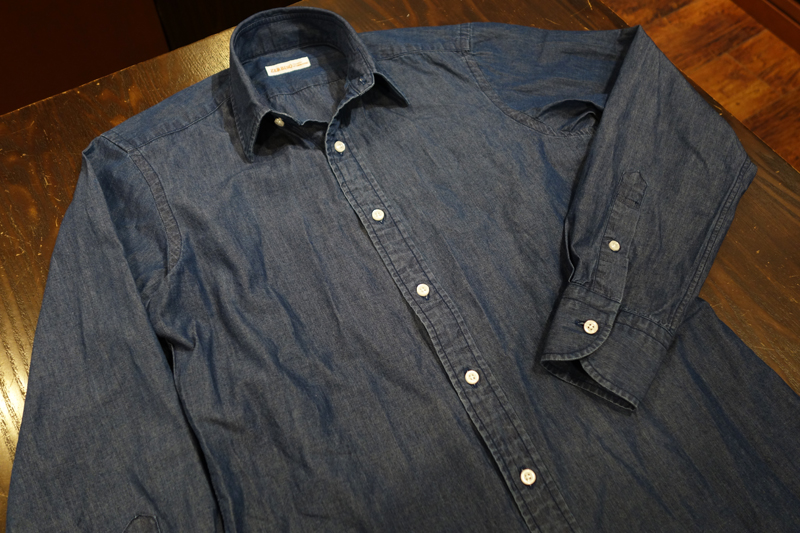デニム シャツ インディゴ カジュアル メイビー カッコいい 洗い オーダーシャツ