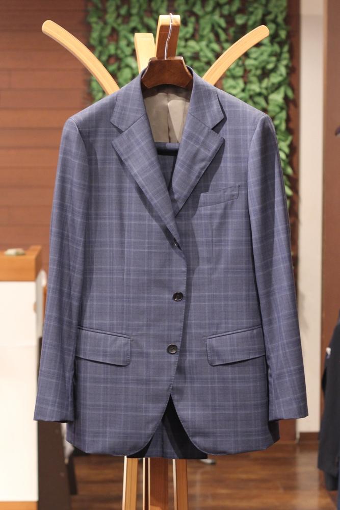 スーツ オーダー ブルーグレー チェック ソリソ