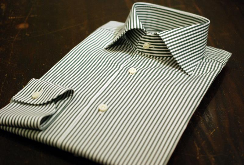 ZERBINO オーダースーツ オーダーワイシャツ ストライプ ショートウィンザー 衿型 貝釦