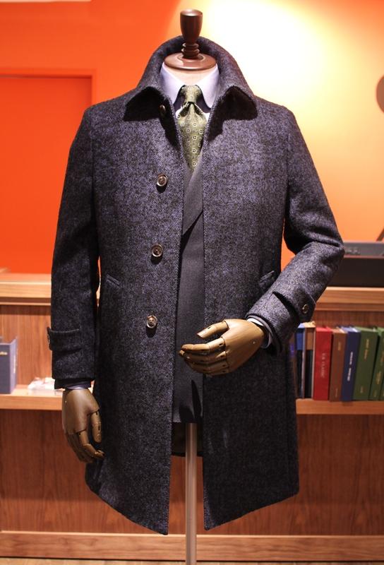 コート ネイビー ステンカラー ネップ かっこいい ZERBINO ゼルビーノ