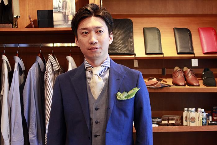 Mr.S  CANONICO wool & linen くるみ釦