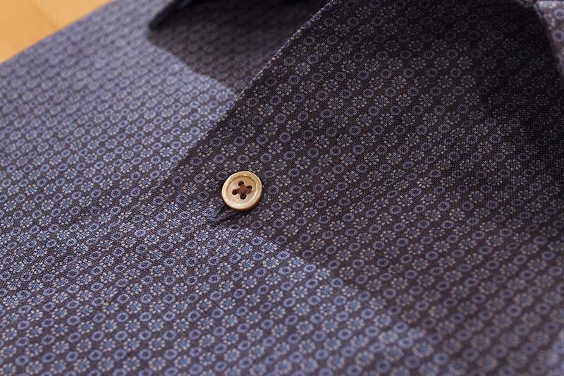 プリント シャツ クラシック ブルー リネン 麻 開襟 オープンカラー テーラーカラー 貝ボタン