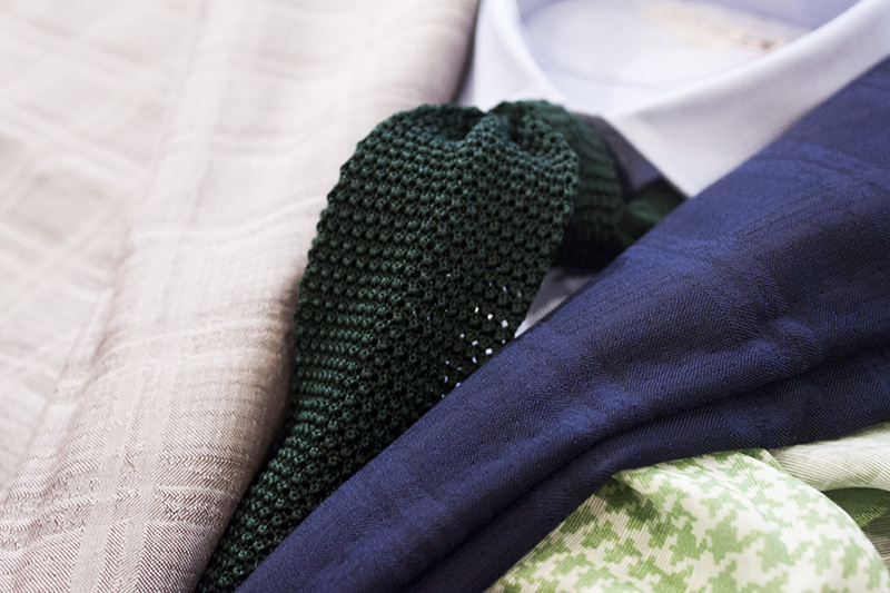 fabio ファビオ イタリア 織り柄 チェック 伸縮 コットン クラシック