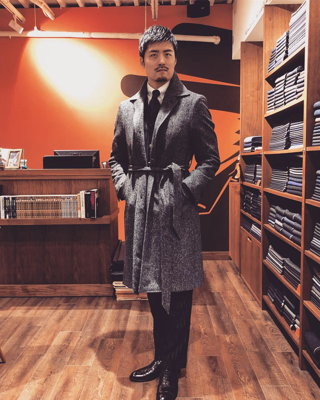 Belted coat.