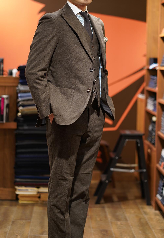 ドミンクス スーツ スリーピース コットン 茶