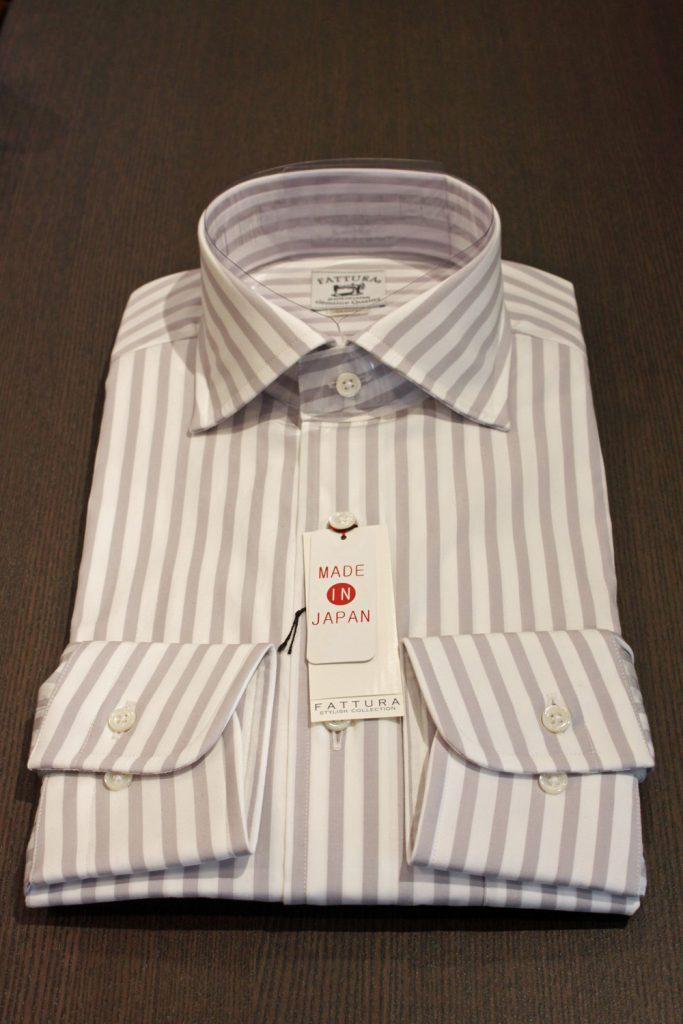 既製シャツ ドレスシャツ 巻き伏せ本縫い 貝釦 フラシ芯 80番手双糸